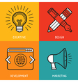 business services icons in outline flat style vector image
