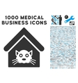 Cat House Icon with 1000 Medical Business Symbols vector image