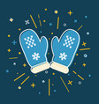 colored mittens icon in thin line style vector image
