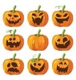 Halloween big set with pumpkins Halloween 3d vector image