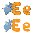 letter E elephant vector image