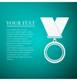 Medal flat icon on blue background vector image