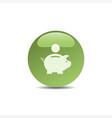 Piggy bank icon on a green bubble vector image