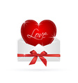 red heart in envelope with ribbon gift vector image