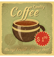 Grunge Card with Coffee Cup vector image vector image