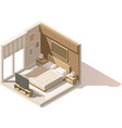 isometric low poly bedroom icon vector image vector image