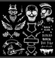 bikers doodles set hand drawn design elements vector image
