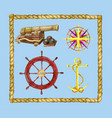 marine set with nautical objects and rope frame vector image