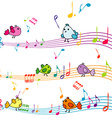 Music note with cartoon birds singing vector image
