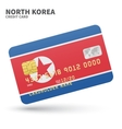 Credit card with North Korea flag background for vector image