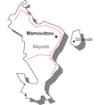 Mayotte Black White Map With Major Cities vector image vector image