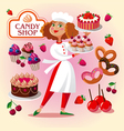 pastry cook girl in the pastry shop vector image