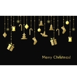 Christmas greeting card with gold christmas toys vector image