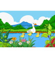 duck cartoon swimming in lake landscape background vector image