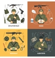 Military Army 4 flat icons Square vector image