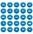 mountain icons set blue simple style vector image