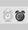 white and black alarm clock icon set design vector image