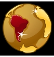 Golden globe with marked of South America vector image