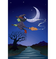 A witch travelling with her broomstick in the vector image
