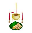 Stuffed Dough Pyramid Dessert for New Year Worship vector image