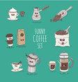 Coffee set coffee bean vector image