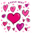 Doodle hearts card vector image