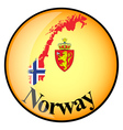 orange button with the image maps of button Norway vector image