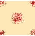 Sketch red rose seamless pattern Hand drawn flower vector image