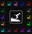 Skier icon sign Lots of colorful symbols for your vector image