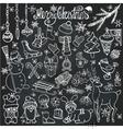 Christmas season doodle iconsanimalsChalkboard vector image