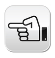 Pointing hand button vector image vector image