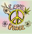 hand drawn hippie background vector image