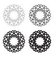 Set of black circular linear icons emblems vector image
