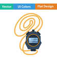 Flat design icon of stopwatch vector image