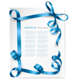 Christmas background with blue gift bow vector image vector image