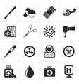 Black Medicine and hospital equipment icons vector image