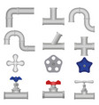 Construction plumbing pieces set of pipes vector image