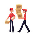 courier delivery service worker holding package vector image