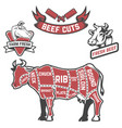 cow cuts butcher diagram design element for vector image
