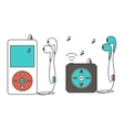 Music players with headphones vector image