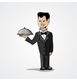 Waiter with a tray isolated on white background vector image