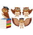 Owls wearing glasses and cap vector image