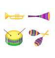 equipment collection for mardi gras celebration vector image