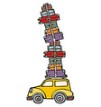 Lets go for fun a car ready for vacations vector image vector image