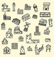 set of doodle houses vector image vector image