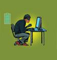 african hacker thief hacking into a computer vector image