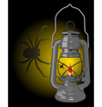 kerosene lamp with a spider vector image