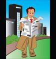 businessman reading newspaper vector image