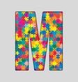 Color Puzzle Piece Jigsaw Letter - M vector image