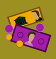 flat icon on stylish background banknotes and vector image